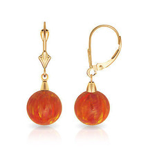 9 mm Ball Shaped Orange Fire Opal Leverback Dangle Earrings 14K Yellow Gold - $99.04