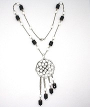 Necklace Silver 925, Onyx Black Pipe, Locket Stars and Circles Pendant image 2
