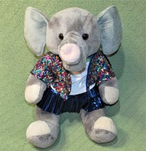 "Build A Bear GRAY ELEPHANT Sequine Jacket Blue Skirt 15"" 2014 Plush Stuffed Toy - $13.98"