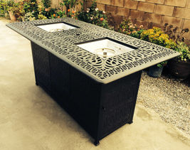 Outdoor propane fire pit table Elisabeth bar stools cast aluminum furniture image 3