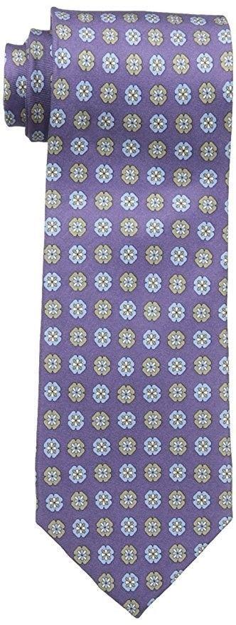 Tommy Bahama Men's Tie Classic Necktie Silk Licensed Mini Medallion Eggplant
