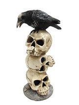 Raven Sitting on Top of LED Lighted Skulls Halloween Decor Collectible F... - £19.15 GBP