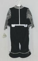 Snopea 3 Piece Outfit Vest Shirt Pants Black White Velour Size 18 Months image 2