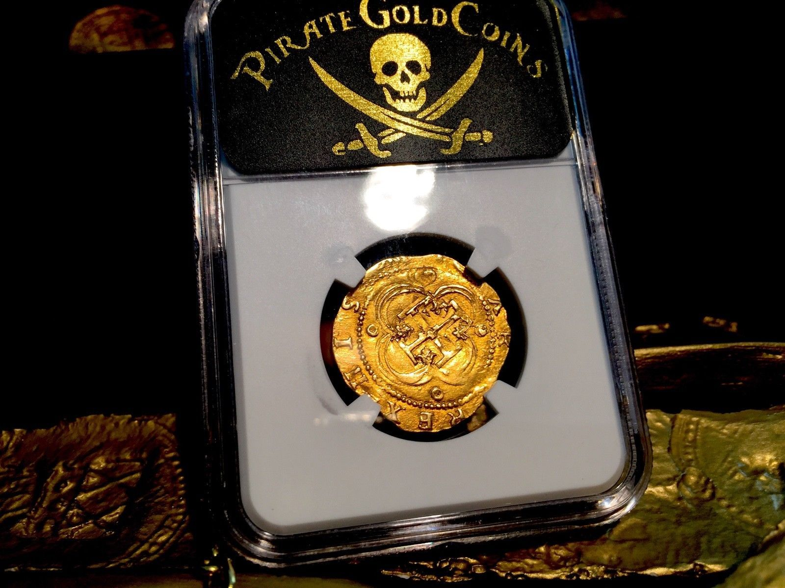 SPAIN 1556-98 2 ESCUDOS NGC 61 GOLD COB DOUBLOON COIN PHILIP II SQAURE D