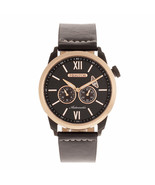 Heritor Automatic Wellington Leather-Band Watch - Rose Gold/Black - $750.00