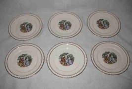 "Wonderful Vintage Set of 6 Harker Pottery 6"" Saucers Colonial Couple Gold Trim - $77.22"
