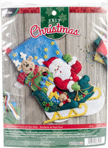 """Bucilla Felt Stocking Applique Kit 18"""" Long-Santa's Helper - $21.41"""