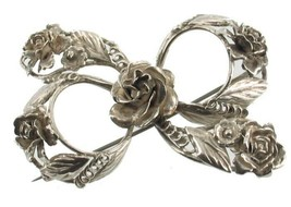 "Vintage Hobe WWII Era Sterling Silver  Ribbon Bow Pin Roses Large 3"" Retro - $60.74"