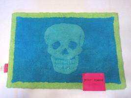 Betsey Johnson Bathmat Skull Bath Rug Blue Shower Mat 17 x 24 Decor  - $19.79