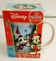 Mickey & Minnie Mouse Christmas Coffee Mug Cup Nestlé Hot Cocoa Gift Set Disney - $12.35