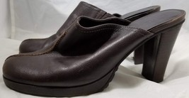 """Enzo Angiolini Women's Italian Leather Slide Clogs 2"""" Heels Brown Shoes ... - $15.48"""