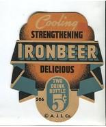 Vtg 1940s Cooling Strengthening Ironbeer Two Drink Bottle Topper Sign AJ... - $19.99