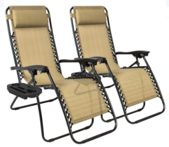 Foldable Two Chairs Zero Gravity Ajustable Set for Beach Outdoor Yard an... - $89.90