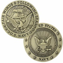 "NAVY SEAL LOGO FAIR WINDS AND FOLLOWING SEAS BRONZE 1.75"" CHALLENGE COIN - $28.49"