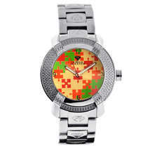Mens Diamond Watch Aqua Master Red Green Mosaic Dial Steel Bracelet - $199.00
