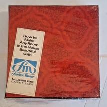 Mid Century Modern Carpet Tiles Penney's Fashion Manor NOS Box of 9 Oran... - $89.88