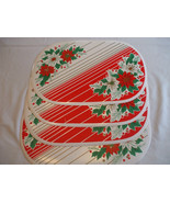 "4 Thick Vinyl Red & White Oval Christmas Holiday Table Placemats 17"" X 11"" - $24.73"