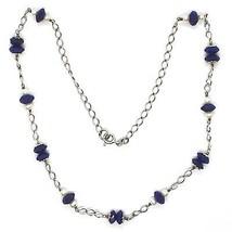 Collar Plata 925 , Azul Lapislázuli Disco Facetado, Perlas, 45 CM image 2