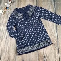 LUCKY BRAND sz S 3/4 sleeves elastics gathered v-neckline navy blouse (L... - $10.00