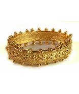 PAJ Signed 18K Gold over Bronze Hinged detailed beaded Bracelet - $24.20