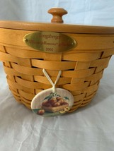 2002 Longaberger Woven Memories Basket Combo Lid Faux Apples Tie on Plastic Prot - $72.92