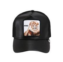Goorin Bros Mesh Cap Animal Farm King Lion The Best Black Leather Trucker Hat image 2