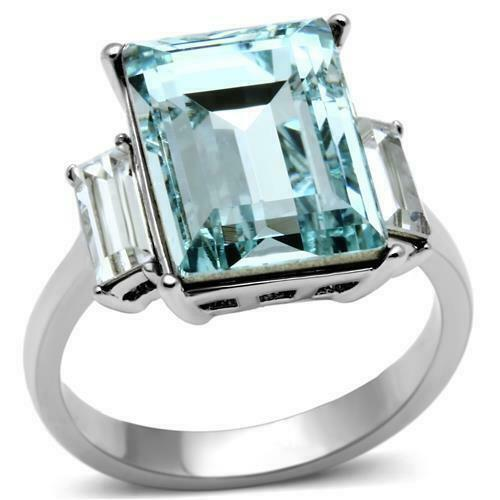 Primary image for Emerald Cut Aqua CZ Triplet Ring Stainless Steel TK316