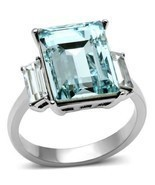 Emerald Cut Aqua CZ Triplet Ring Stainless Steel TK316 - £16.13 GBP