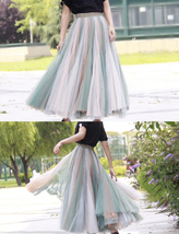 Rainbow Pleated Skirt Womens Rainbow Stripe Skirt Tulle Maxi Skirt Outfit image 7