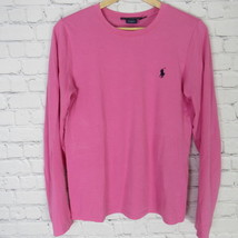 Ralph Lauren Sport Long Sleeve Shirt Top Womens Medium M Pink Navy Pony C17 - $27.88