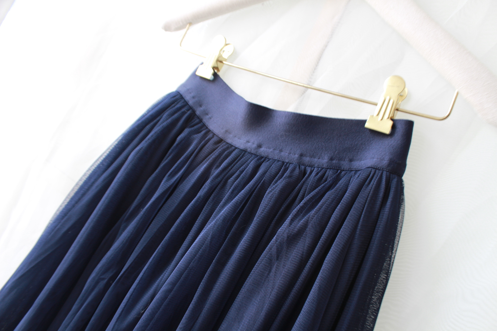 NAVY BLUE Elastic High Waist Tulle Maxi Skirt Navy Wedding Bridesmaid Tutu Skirt