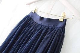 NAVY BLUE Elastic High Waist Tulle Maxi Skirt Navy Wedding Bridesmaid Tutu Skirt image 5