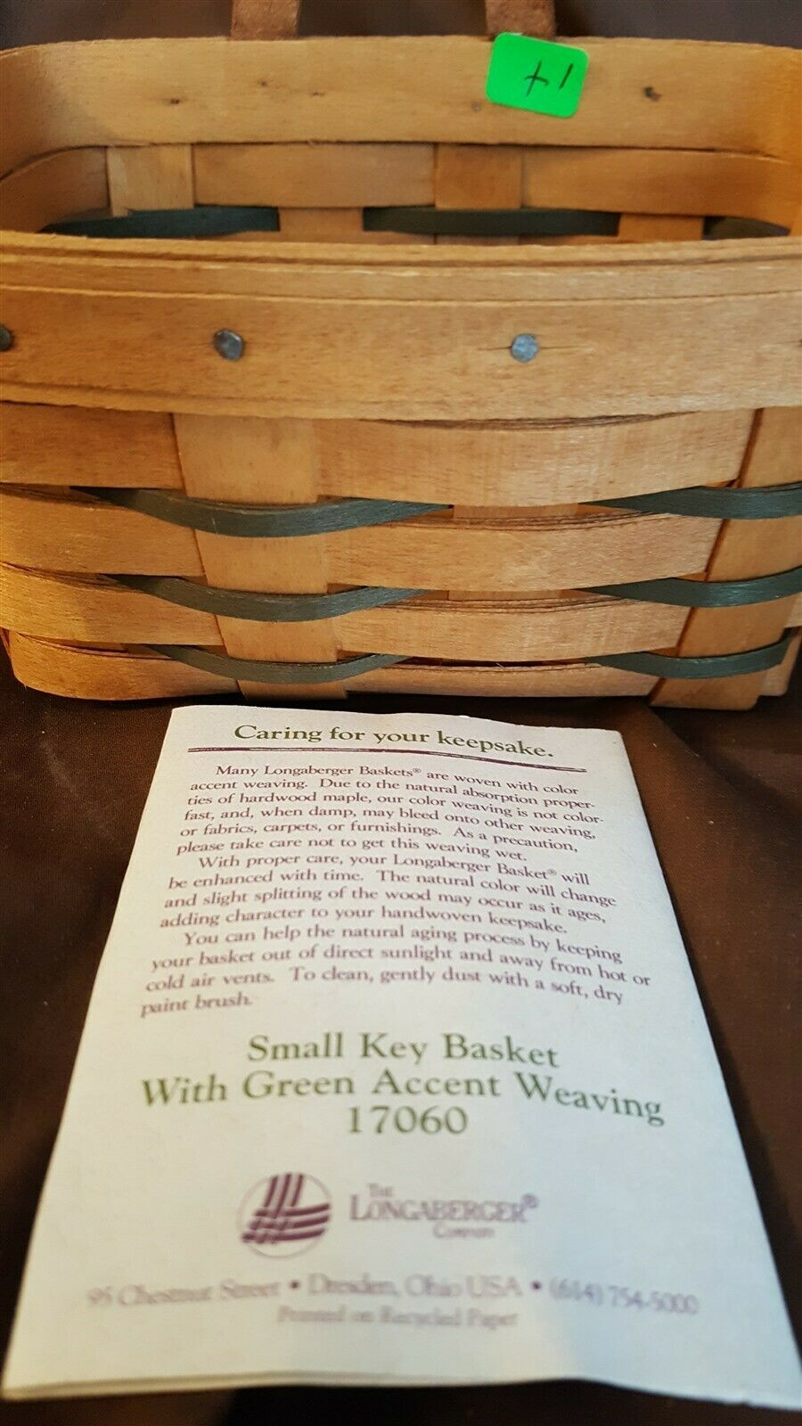 Longaberger 1995 Small KEY BASKET #17060 With Leather Strap Hanging
