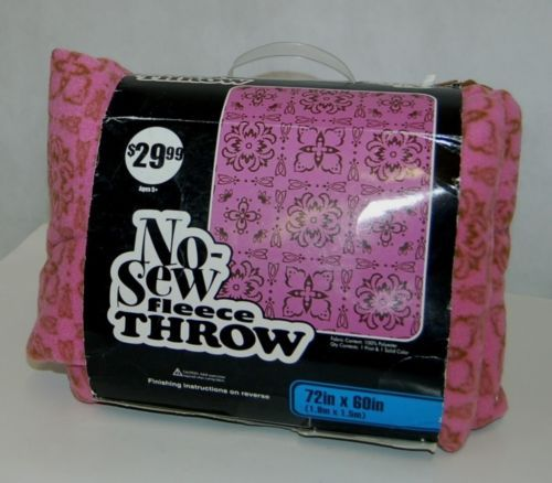 No Sew Fleece Throw Kit 10628105 Pink Brown Vintage Design 72 By 60 Inches