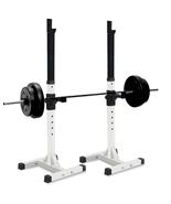 Pair of Adjustable Standard Solid Steel Squat Rack Stands Barbell Bench Gym - $64.99