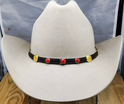 BLACK HATBAND Genuine Leather with Square + Round Red Stone & Gold CONCHOS and 3 - £20.57 GBP