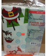 "FLANNEL BACK VINYL TABLECLOTH 52"" x 104"", SANTA & ANIMALS by AP - $17.81"