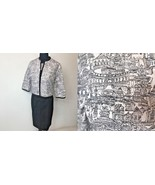 Vintage Jonathan Logan European Architecture Print Black Skirt Suit size... - $39.95