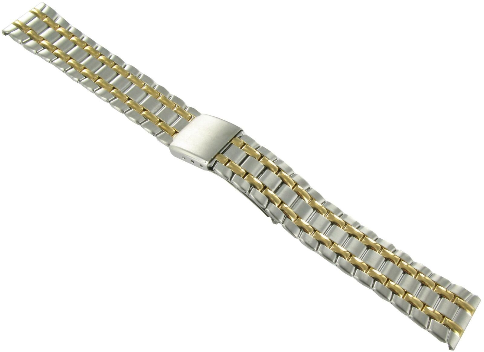 Primary image for 18mm Speidel Gold and Silver Tone Deployment Buckle Watch Band 1621... SHIPSFREE