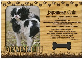 Japanese Chin Engraved Wood Picture Frame Magnet - $11.58