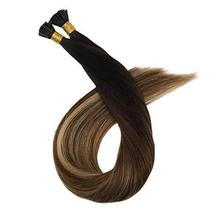 Ugeat 16 Inch Keratin Tipped Human Hair Extensions 0.8g/Strand Color #1B/4/27 Ba image 6