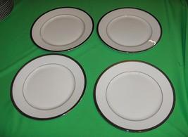 4 Rosenthal Nobility China Salad Plates Germany White Platinum Silver Band - $64.35