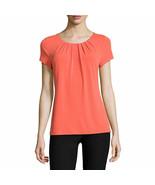 Worthington Short-Sleeve Scoop Neck T-Shirt Sizes PL, PXL Hot Coral New - $16.99