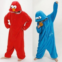 Sesame Street Elmo Cookie Monster Costume Adult Pajamas Pyjamas Onesie S... - $31.99
