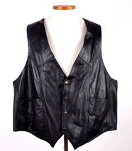 Vintage 90s Black Leather Biker Vest Sleeveless Jacket Motorcycle Retro ... - $18.80