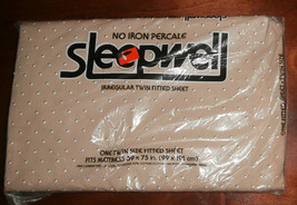 Vtg Sleepwell No Iron Percale Irregular Twin Fitted Sheet NOS NIP Brown ... - $14.50