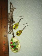 VTG EMBEDDED LUCITE SHELL BUG CLAM PEARL FLOWER NECKLACE DANGLE DROP EAR... - $237.99