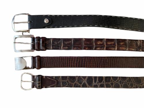 Lot 4 Martin Dingman Men Crocodile Hand Crafted USA Leather Belt 40 LEN Lizard