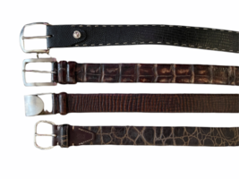 Lot 4 Martin Dingman Men Crocodile Hand Crafted USA Leather Belt 40 LEN Lizard image 1