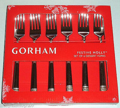 Gorham Festive Holly Dessert Forks 6 Piece Gold Banded Stainless Flatware New - $36.90